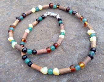 Baltic Amber, Hazelwood, & Green Aventurine necklace- reduce pain and nausea - support healthy skin
