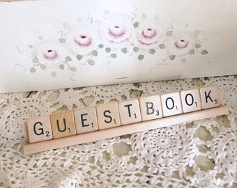 Guestbook Sign Scrabble Sign Wedding Guest Book Sign Rustic Wedding Decor