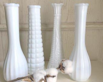 Milk Glass Vases Mix and Match Set of 4 Wedding Vases Modern Farmhouse