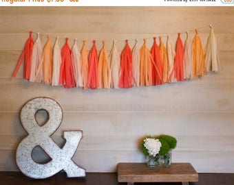 ON SALE TODAY Peace Coral Tassel Garland Tissue Paper Tassels Garland Kit Set of 6 to 50 Choose your quantity