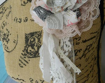 Shabby chic, tattered fabric flower pin, brooch, lace, ooak