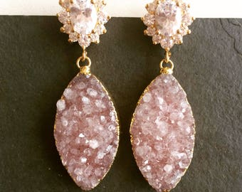 Dusty Rose. Gold Plated Pink Druzy Earrings. Cubic Zirconia Studs