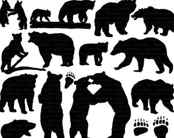 Bear Clip Art, Bear Silhouette Images, Digital Stamp, Animal, ClipArt PNG + Photoshop Brush, Wilderness Camping, Black Bear Hunting