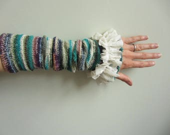Mori Girl Ruffle Arm Warmers, Upcycled Sweaters, Recycled Clothing, Boho Wrist Warmers, Striped Fingerless Gloves, Texting Gloves, Eco