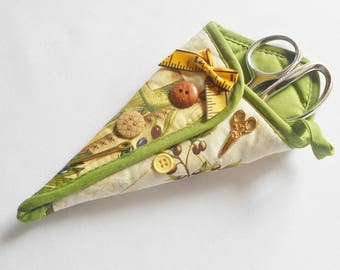 Green And Beige Upcycled Scissor Holder