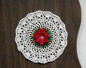 Petite Red Rose Crochet Lace Doily, Small Table Centerpiece, Cottage Chic Home Decor, Wild Rose Design, Cute, Valentine Gift, Mothers Day