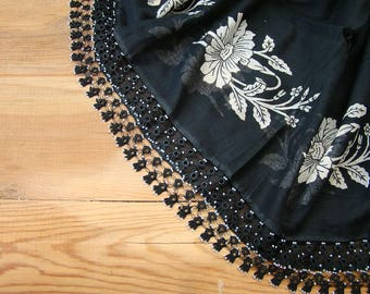 black vitage turkish scarf, cotton beaded trim