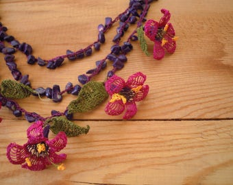 violet and purple flower necklace, oya necklace, crochet
