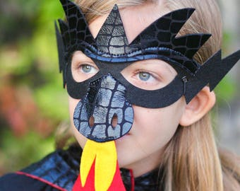 Halloween Ready BLACK DRAGON MASK - Shiny Scales - Kids Halloween Dragon Costume - Option to add additional pieces