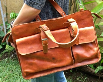 DIAZ Leather Briefcase / Laptop Bag / Satchel in Crazy Horse Tanned Brown