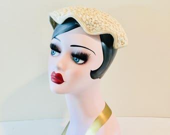 Vintage 1940's Ivory Sequined Fascinator Hat / Wedding Bridal Off-White Mini Hat