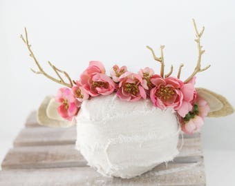 ready to ship coral pink newborn sitter fawn deer woodland antler crown halo floral headband prop