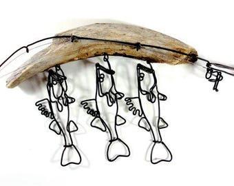 Walleye Stringer and Fishing Rod Wire Sculpture, Wall Hanging Walleye Wire Art, Minimal Wire Sculpture, 551085105