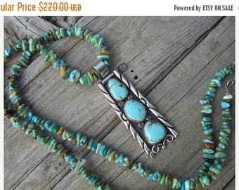ON SALE Turquoise necklace in sterling silver
