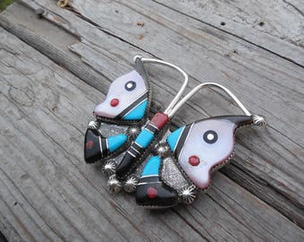 Beautiful butterfly pendant or pin, handmade and signed in sterling by, a Zuni silversmith with turquoise, coral, jet and mother of pearl