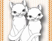 Mixed Media Templates ~ Cat Sitting Portrait - Paperbabe Stamps - For mixed media, paper crafting and scrapbooking.