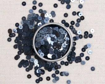 Sequins & Beads // Graphite Metallic Sequins, Graphite Seed Beads, 4mm Black Flat Sequins, Felt Embellishment, Loose Glass Beads, Felt Shop