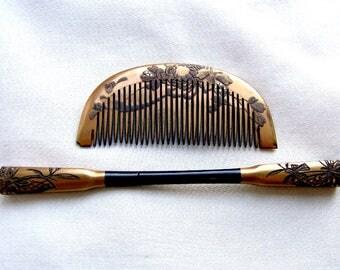 2 vintage Japanese Kanzashi hair accessories geisha hair comb hair pick hair fork hair ornament hair jewelry (AAH)