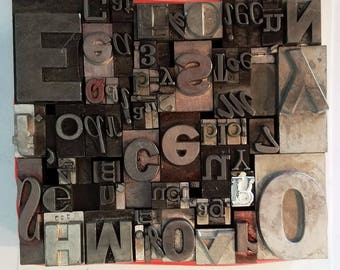 Vintage Letterpress Type Metal Mixed Font
