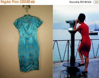 WW2 ENDS SALE His Little China Girl - Vintage 1960s Turquoise Rayon Chinese Wiggle Mandarin Dress  - 2