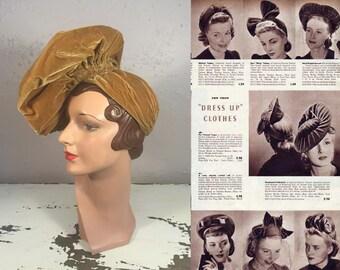A Slight Turn of the Head - Vintage 1930s Mustard Gold Silk Velvet Flat Slouch Turban Beret Hat