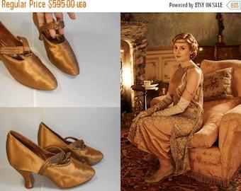Anniversary Sale 35% Off Lady Edith's Woes - Vintage 1910s 1920s Golden Pumpkin Silk & Beaded Pumps Heels