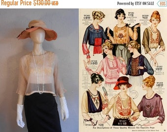 Anniversary Sale 35% Off She's a Marion Davies Lookalike - Vintage 1920s Pale Pink Silk Chiffon Soutache Blouse - M