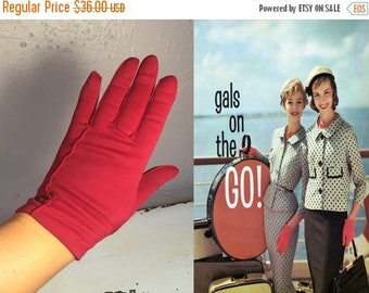 Anniversary Sale 35% Off Girls On Holiday - Vintage 1950s Red Nylon Wristlet Gloves w/Button Detail - 6.5