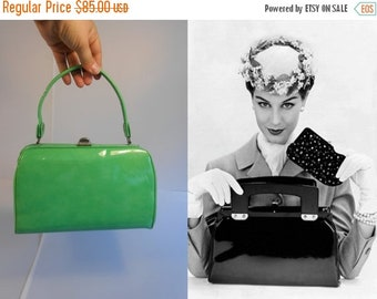 Anniversary Sale 35% Off That Penny Saved That Penny Earned - Vintage 1950s Bright Green Vinyl Patent Medium Doctor Barrel Handbag