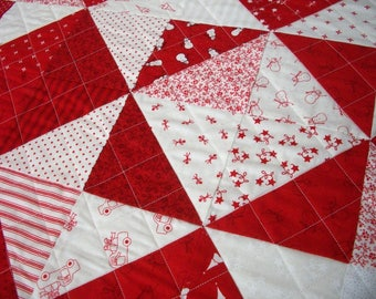 Snowman Table Runner Winter Wonderland Quilted Red White Quiltsy Handmade FREE U.S. Shipping