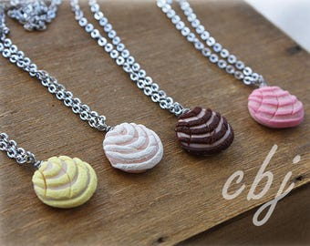 Pan Dulce Necklace, Concha Necklace, Stainless Steel, Best Friend Necklaces, Yellow Concha, White Concha, Pink Concha, Brown Concha