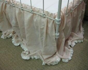 CRIB SKIRT ONLY----Ruffled Hem Crib Skirt in Washed Linen--One Inch Ruffled Crib Skirt-Made to Order Crib Linens