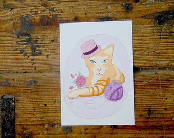 Cat with a Hat A5 Print