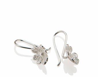 Flower Earrings Dangle , Blumen Ohrringe , 925 Sterling Silver