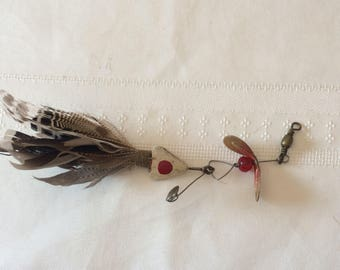 Vintage Metal Lure With Bird Feathers