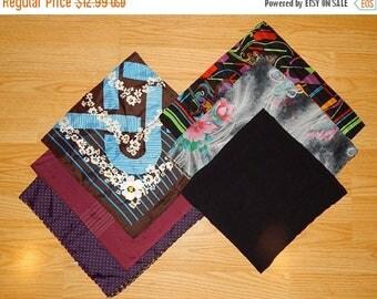 ON SALE Lot 6 of Assorted Vintage Polyester Huge Scarves