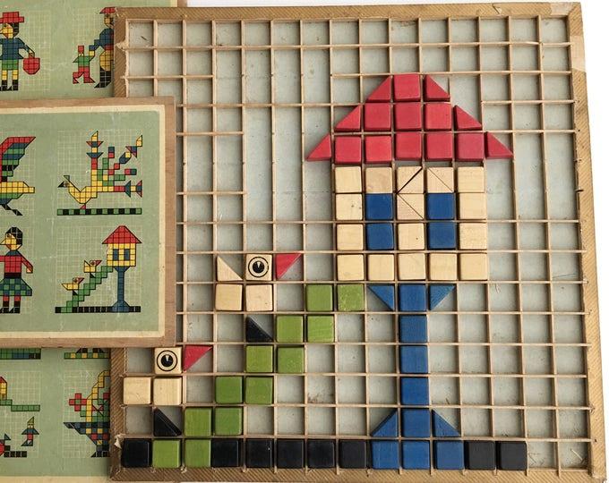 Vintage Toy Blocks Eyes Windows Doors Colorful Wood
