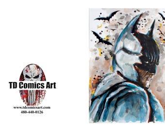 batman greeting card of original comic art marvel art,comics,super heroes, villains,marvel art,wall art, home decor,DC comics,superman