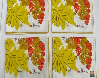 Four Vintage Vera Cotton Napkins, Mint Condition, Florals, Fruits, Vegetables