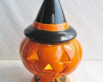 Vintage Ceramic Halloween Jack O Lantern, Bayshore Mold, As-Is