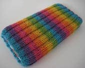 hand knitted wool iPhone 5 sock cosy - cellphone sock - iPhone SE phone sock - mobile case - rainbow phone sock - wool phone sock - striped