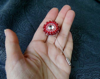 Red Hat pin brooch Beaded Brooch Swarovski Crystal Czech Beads Beadwork Brooch Scarf Lapel Jacket Сoat Pin Vintage Embroidered beads Gift