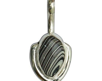 Fordite and Sterling Silver Pendant, pfrde2816