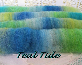 Hand spinning roving self striping rolls batts rolags Teal Tide hand dyed homegrown wool blend blue green teal lime