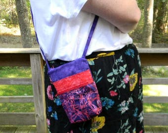 Small Purple Batik Zipper Crossbody Bag