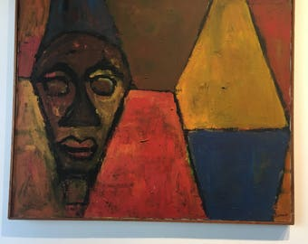 J Wheat Abstraction Portrait Cubist Large 1960s Painting Modern Art