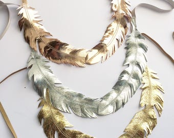 Leather Feather Collar