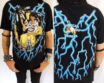 Vintage 80s american thunder biker shirt harley 3d emblem mens large xl black lightning motorcycle 90s womens punk sturgis rock eagle horse