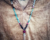 108 mala beads hand knotted necklace, agate and moon stone beads on waxed linen thread