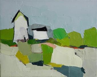Duet - 8x10, Oil Painting On Canvas, Original Painting, Landscape- Farmhouse